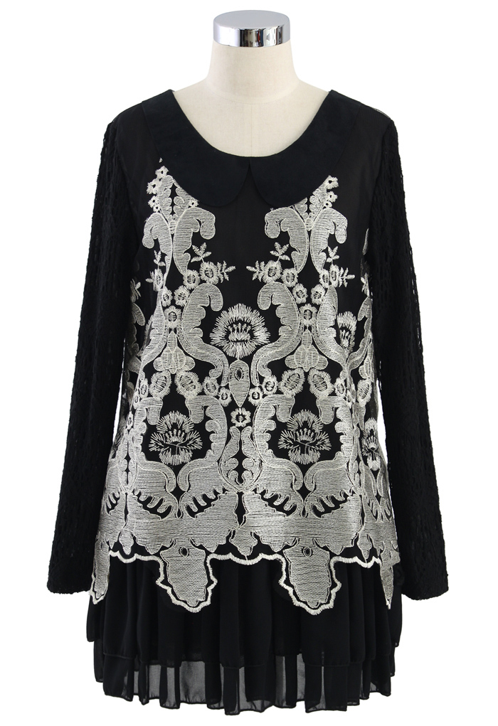 Golden Embroidery Lace Sleeve Black Dress