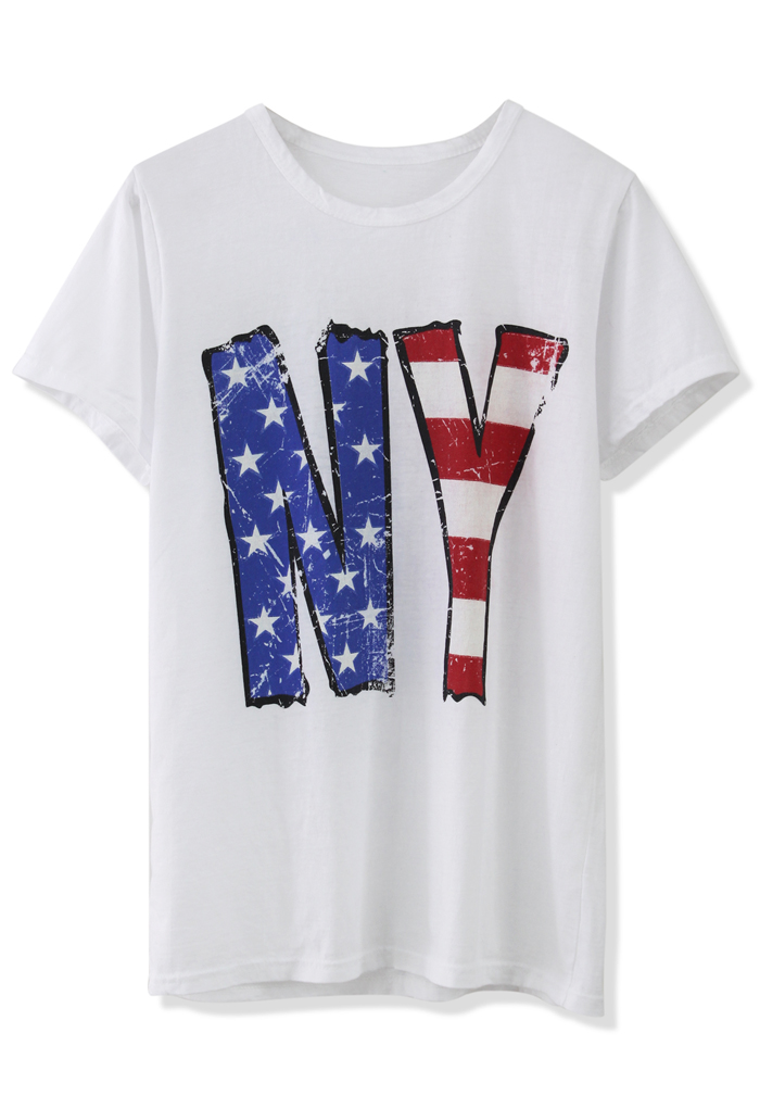 Go For New York White T-Shirt