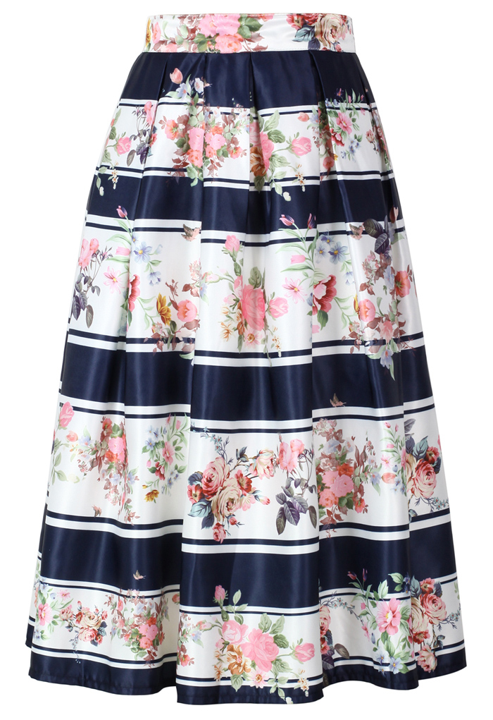 Contrast Striped Blooming Floral Midi Skirt