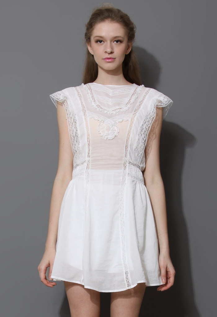 Victoria White Lace Trimming Smock Dress