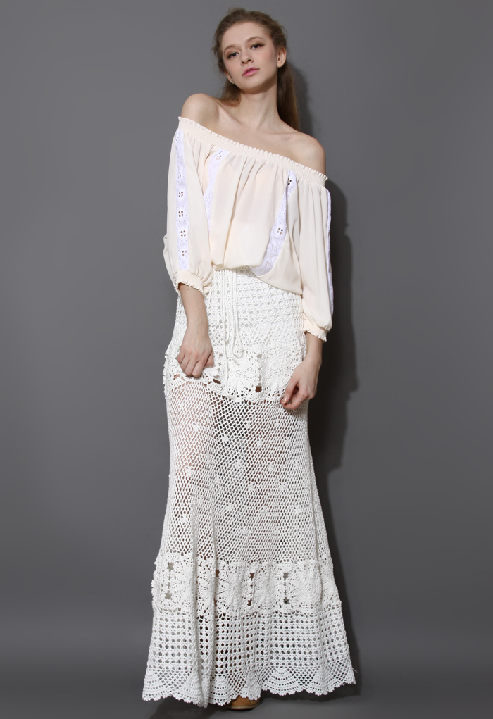 Chicwish Limited Edition Hand Knit Maxi Skirt