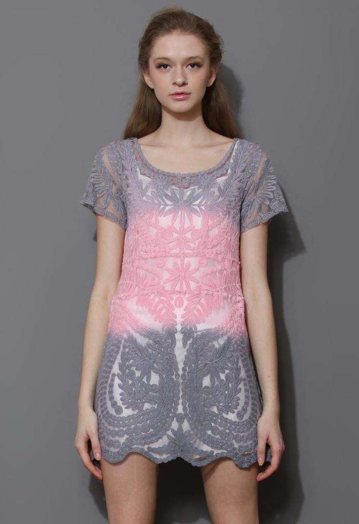 Color Block Dip Dye Mesh Crochet Dress