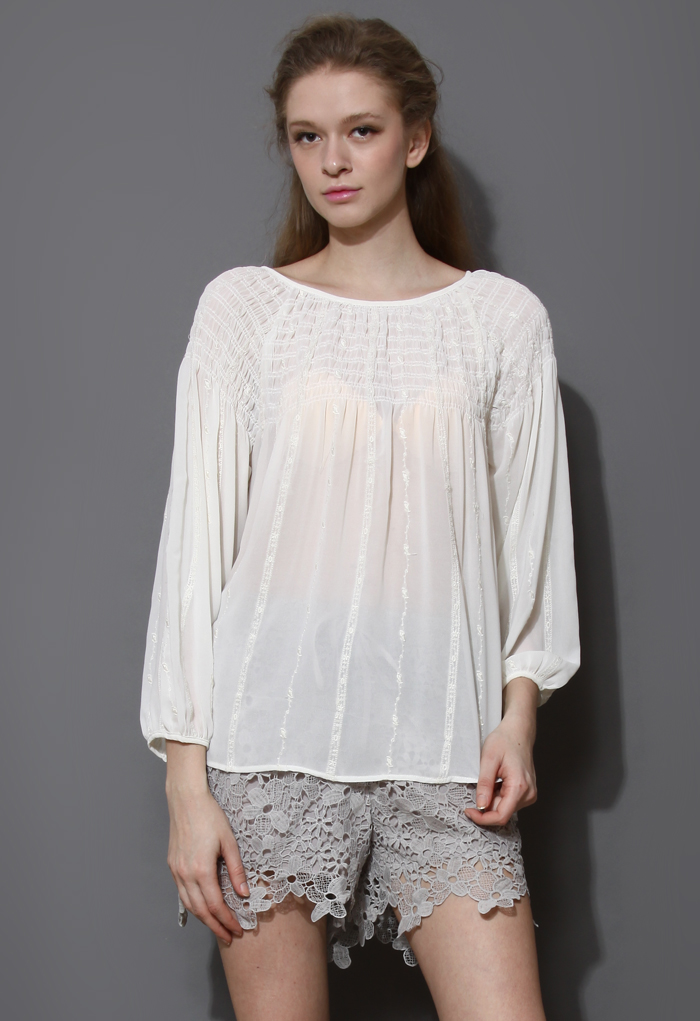 Embroidered Stripe Loose Chiffon Top