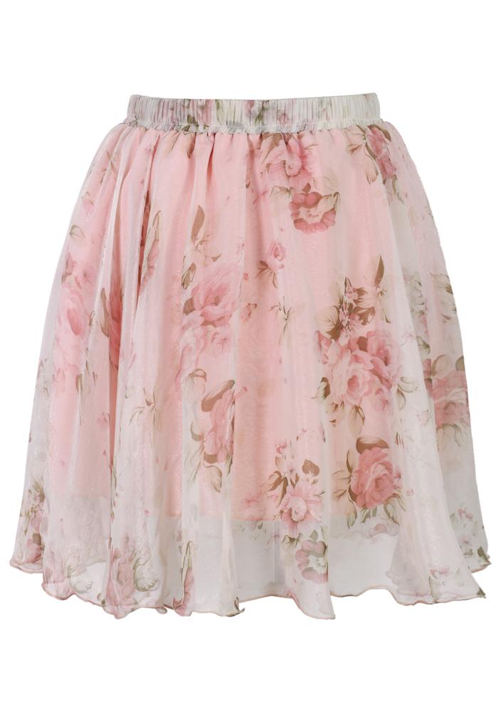 Pink Floral Print Chiffon Skirt