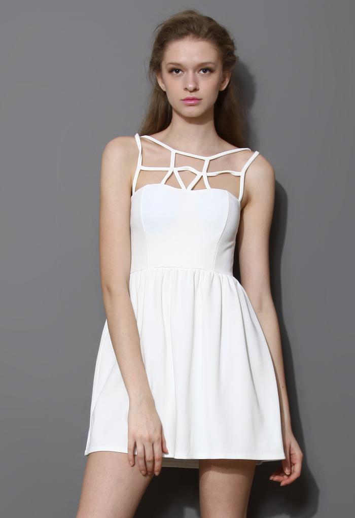 Caged Skater Dress in White