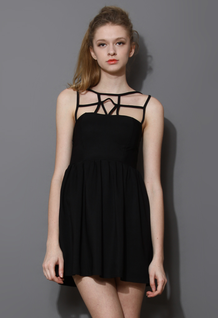 Caged Skater Dress in Black