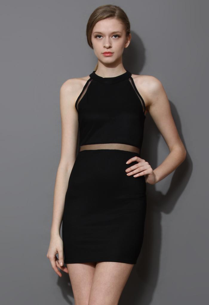 Mesh Insert Black Body-Con Dress