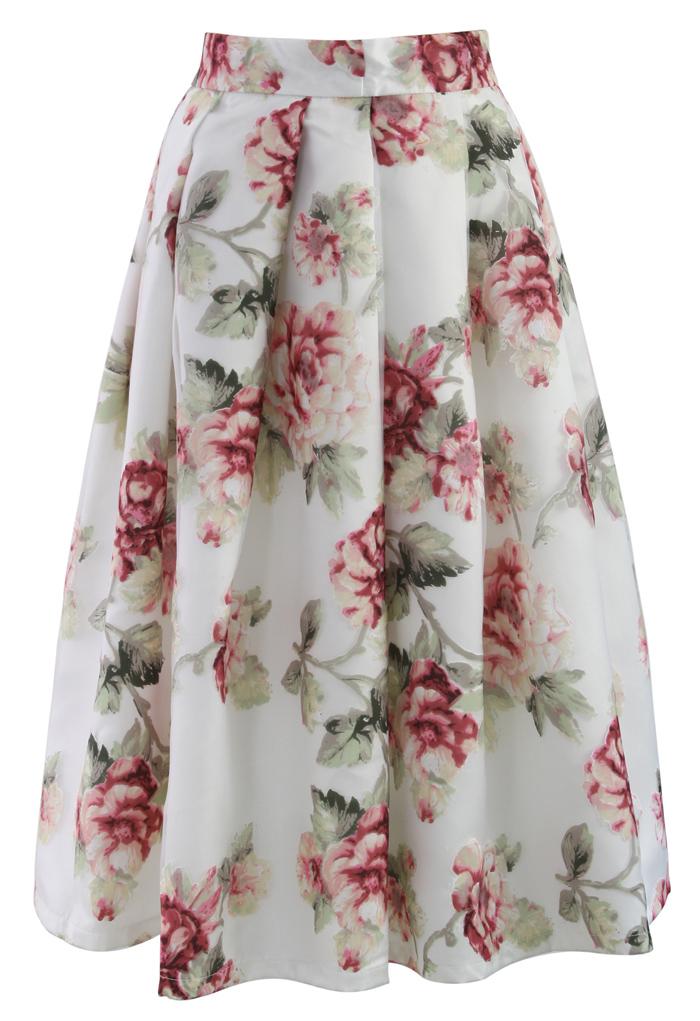 Blooming Rose Spring Cruise Midi Skirt