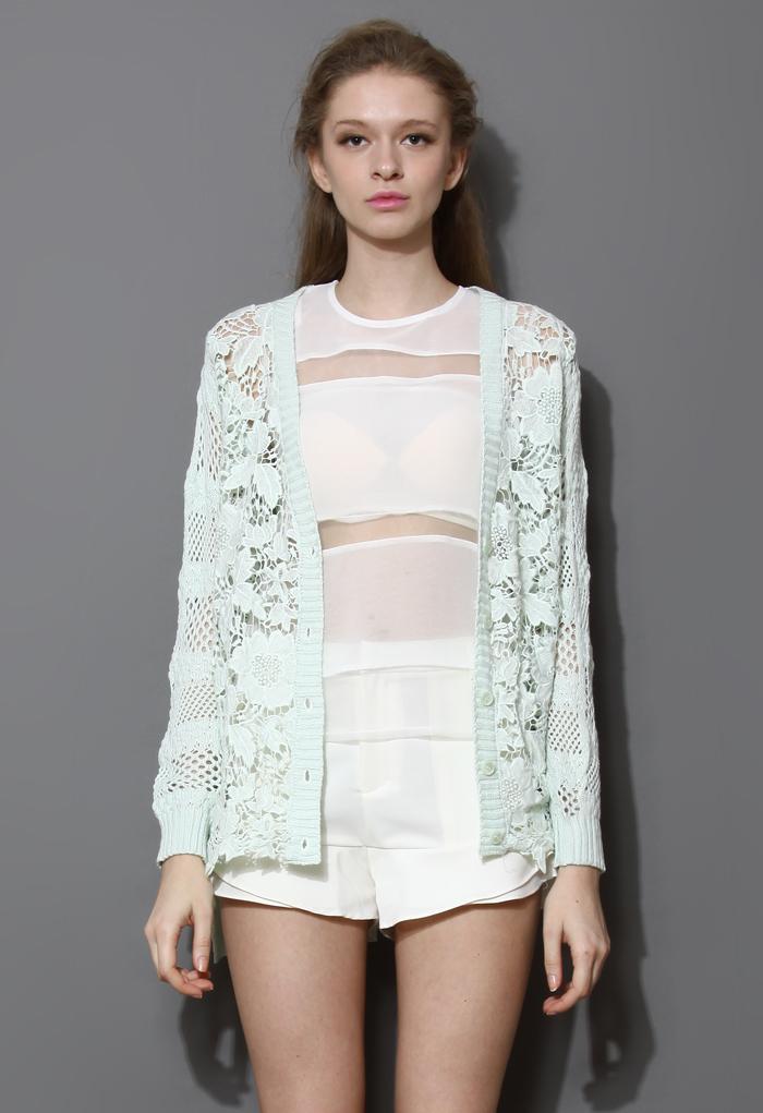 Pastel Floral Crochet Cardigan