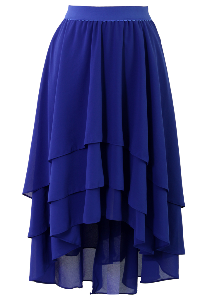 Slant Tiered Blue Chiffon Skirt