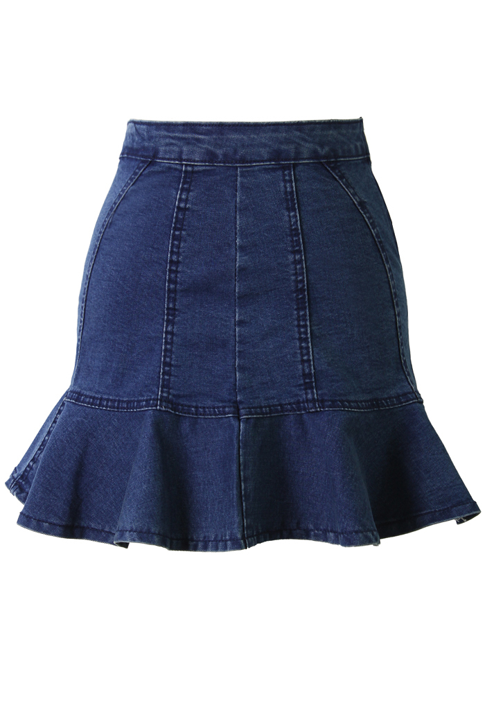 Fitted Denim Skirt with Frill Hem