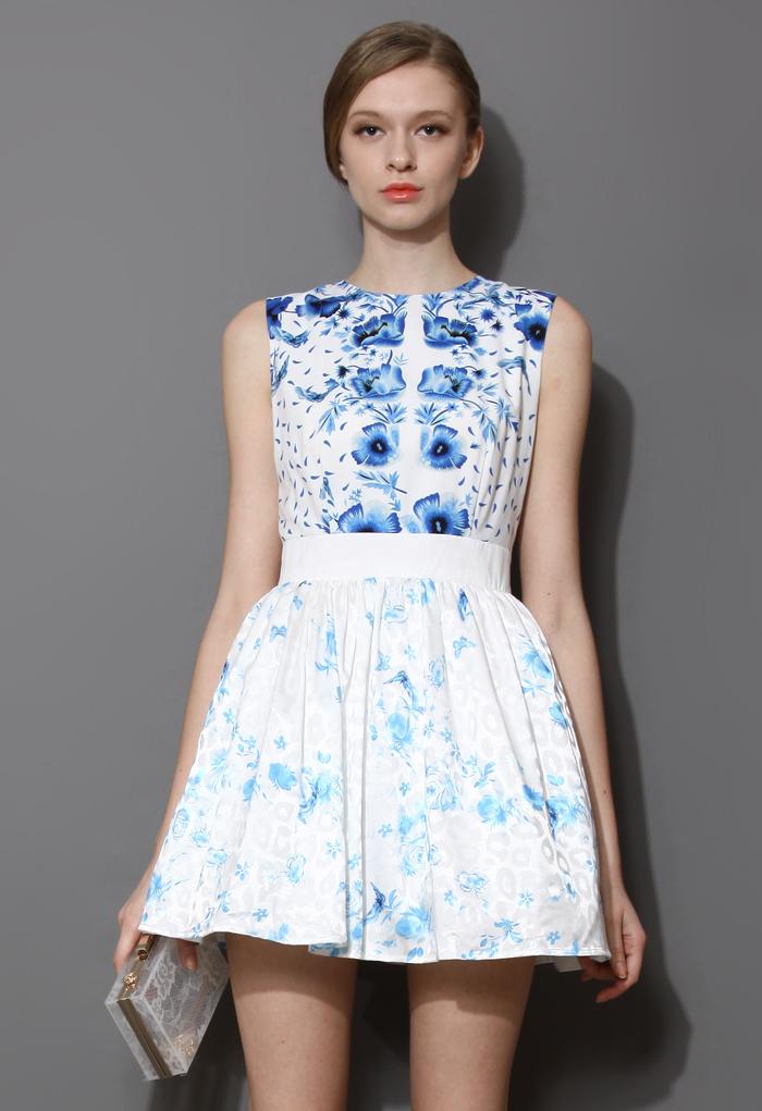 Blue Balloon Flower Print Sleeveless Dress