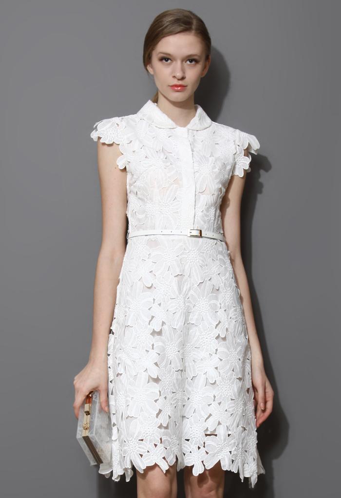 Full Flower Cut Out Midi Dress