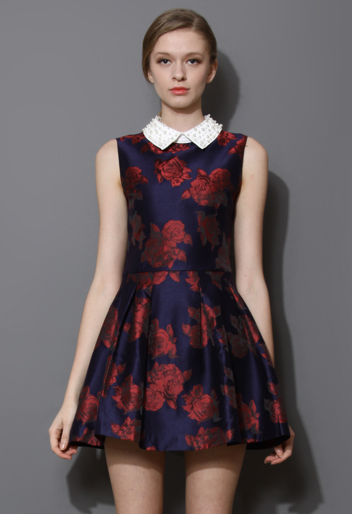 Pearly Collar Red Blooming Rose Skater Dress