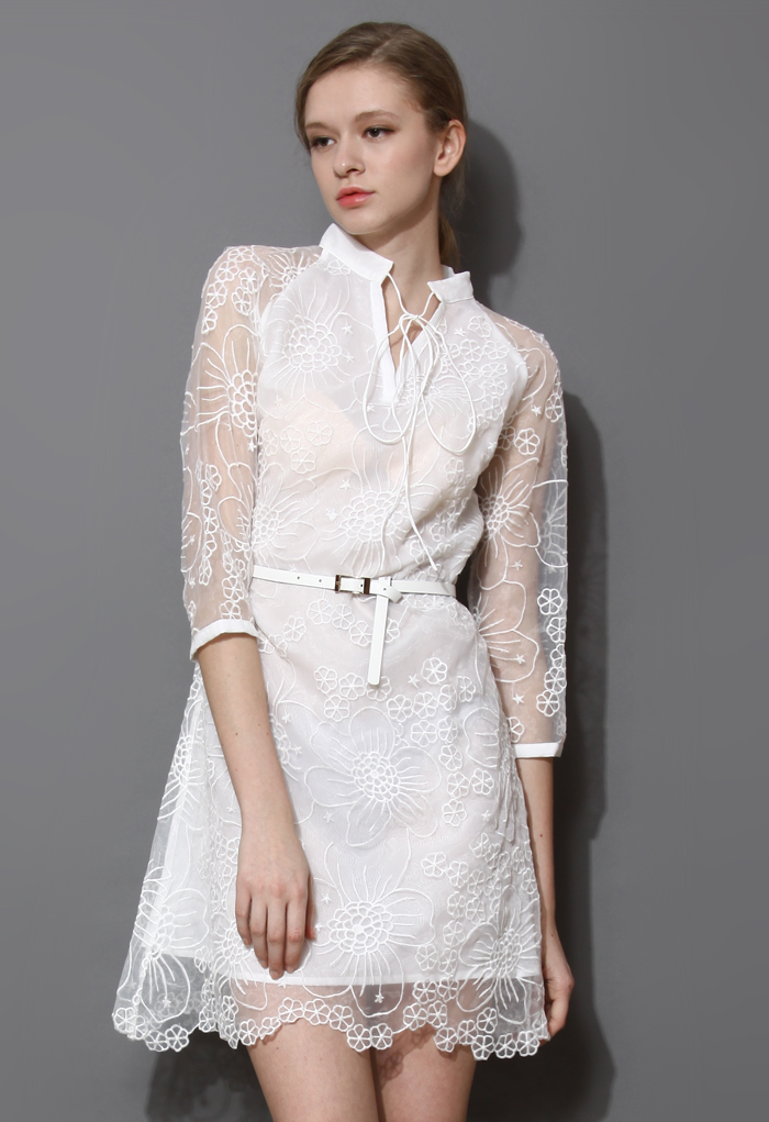 White String Neck Embroidered Organza Dress
