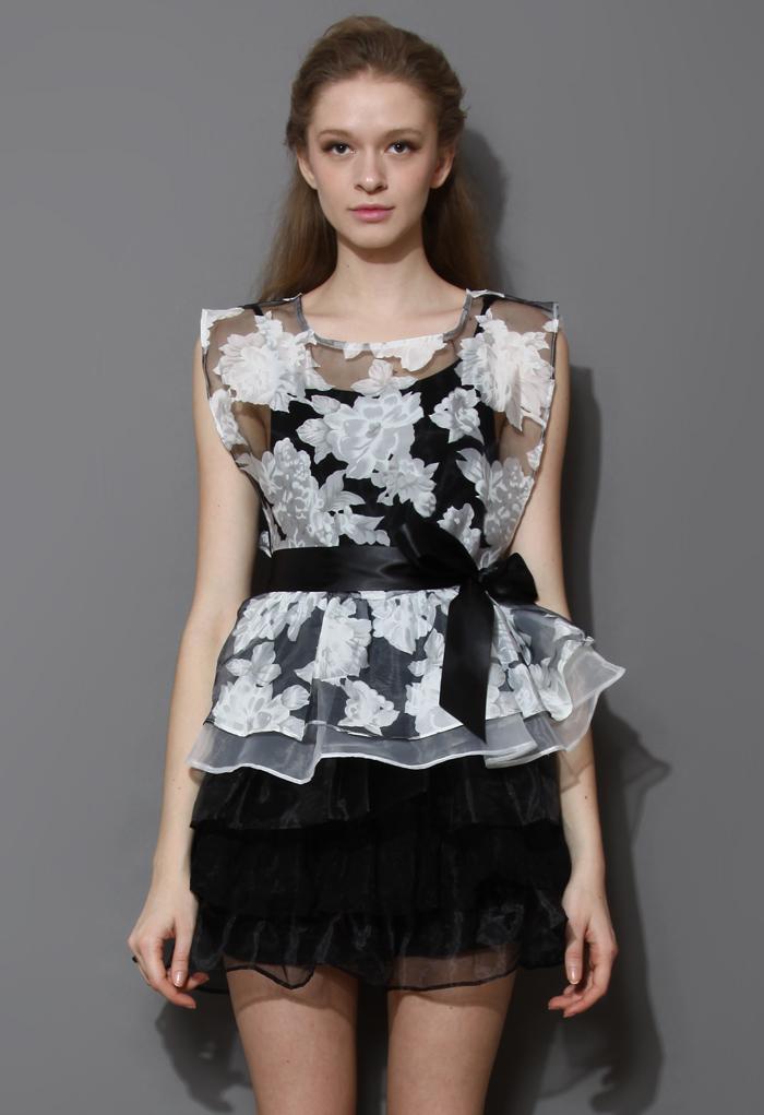 Floral Print Organza Tiered Twinset Dress