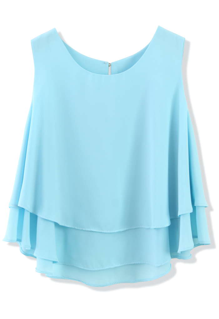 Layered Chiffon Crop Top in Blue