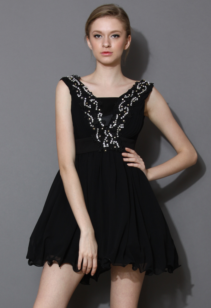 Crystal Embellished Prom Little Black Dress