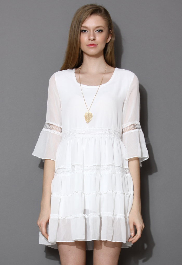 Manifest Chiffon Dolly White Boho Dress