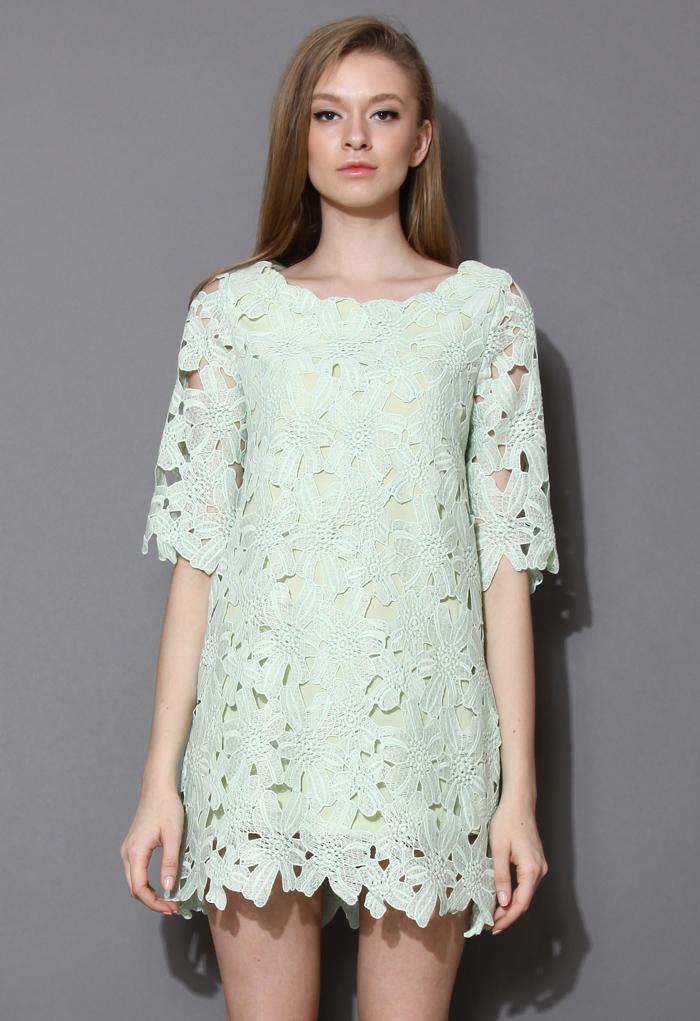 Full Flower Cut Crochet Mint Dress