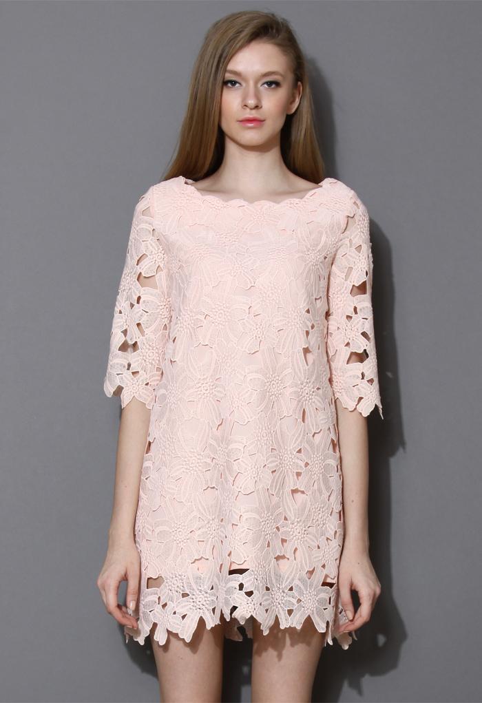 Full Flower Cut Crochet Pink Dress