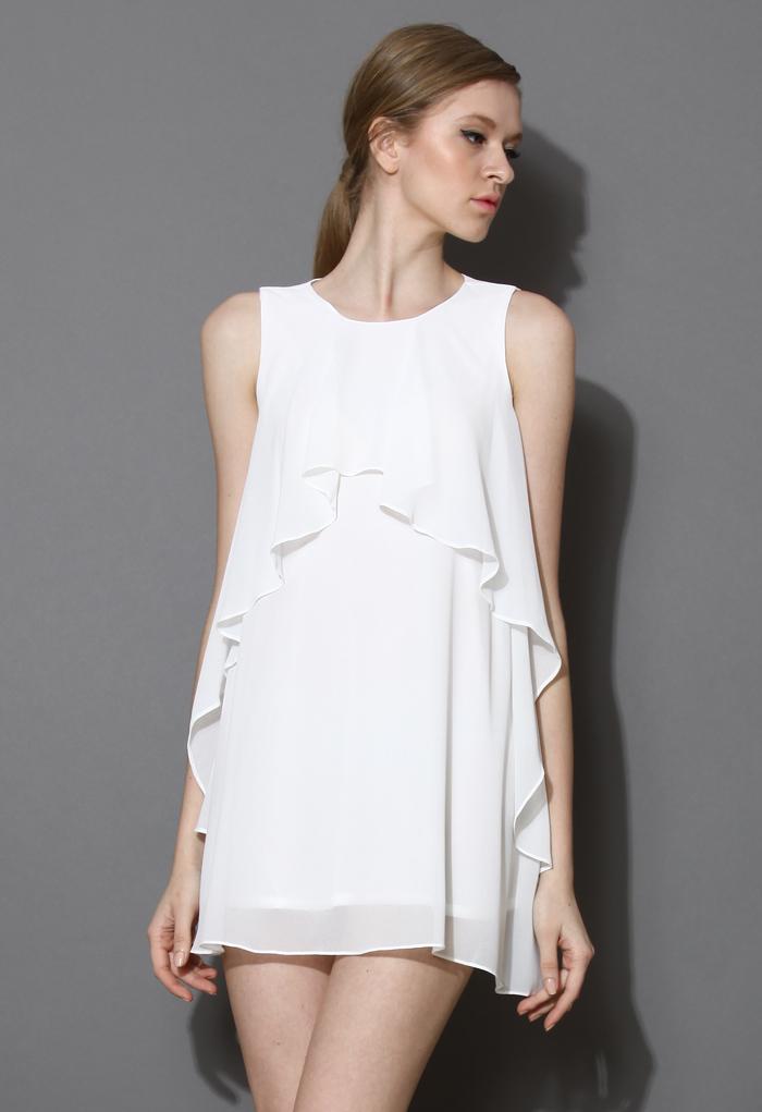 Breezy Ruffle White Chiffon Dress