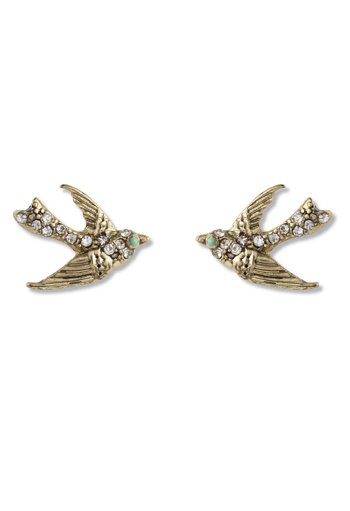 Swallow Crystal Beads Stud Earrings