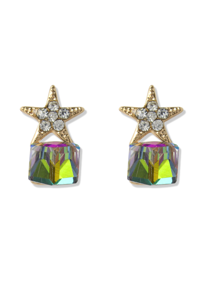 Rhinestone Star Beeds Earrings