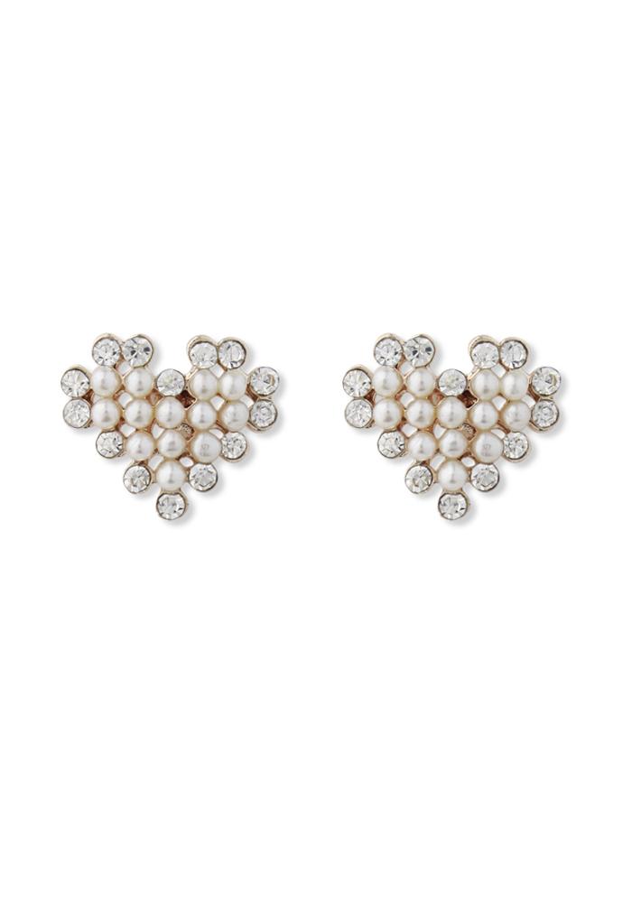 Crystal Pearl Beads Heart Earrings