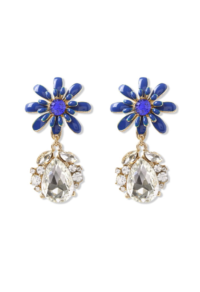 Blue Daisy Crystal Teardrop Earrings