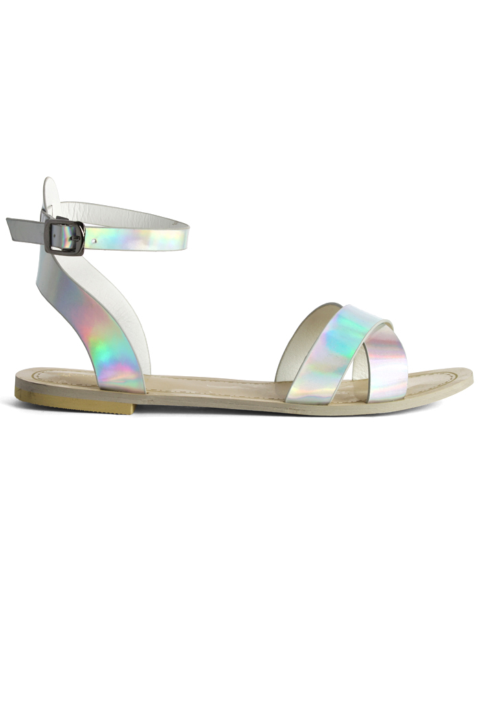 Silver Holographic Cross Strap Sandals