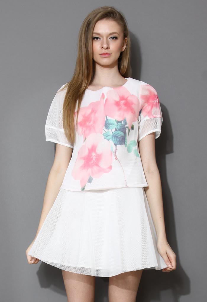 Watercolor Rose Print Mesh Top and Skirt Set