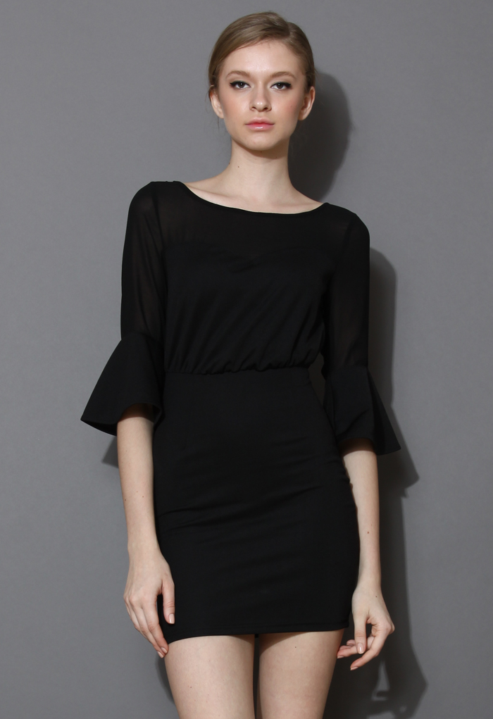Fit and Flare Black Pencil Dress