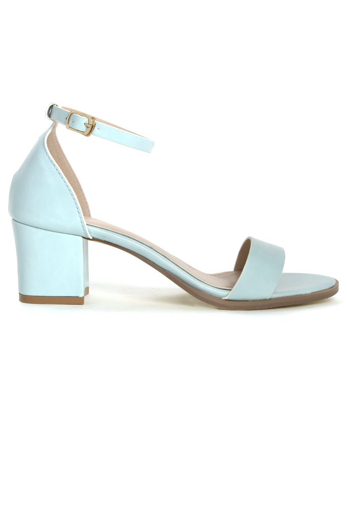 Pastel Blue Ankle Strap Heeled Sandals