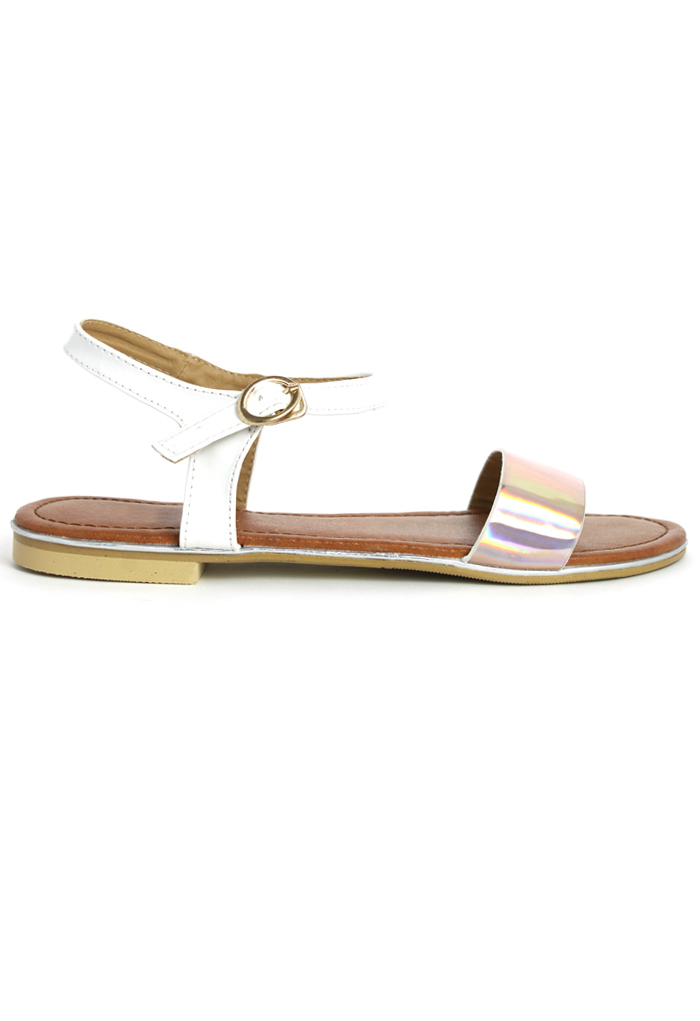 Pink Holographic Flat Sandals