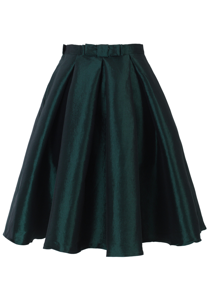 Bow Pleated A-Line Skirt in Dark Green
