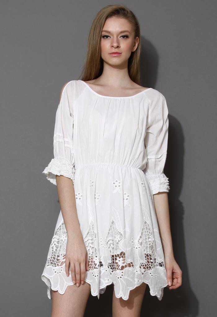 Mystic Cut Out Crochet White Dress