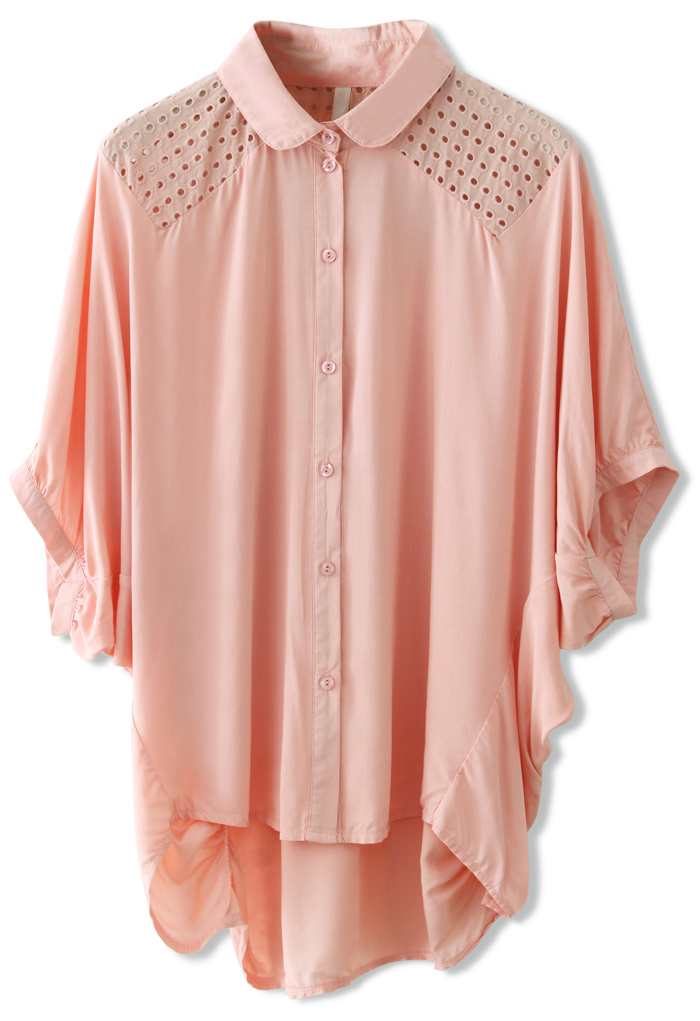 Eyelet Shoulder Batwing Top in Pink