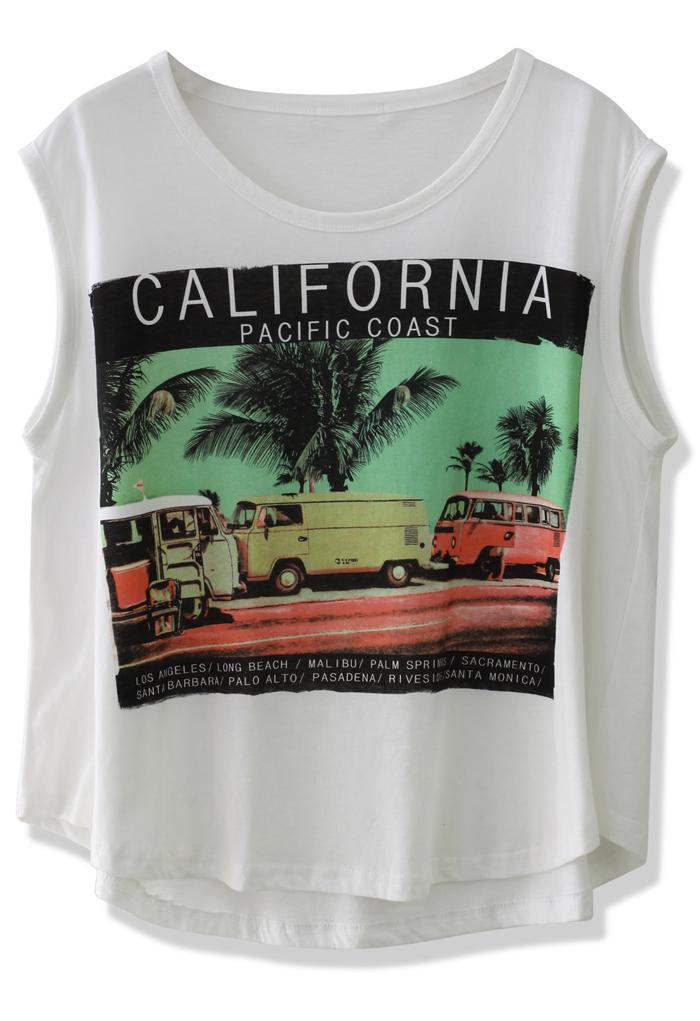 California Palm Tree Print T-shirt