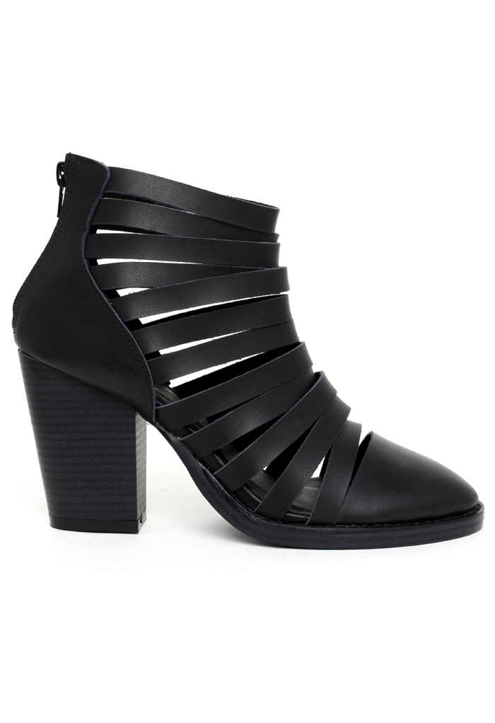 Perfection Black Strappy Ankle Boots