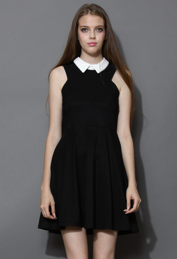 Contrast Collar Little Black Dress