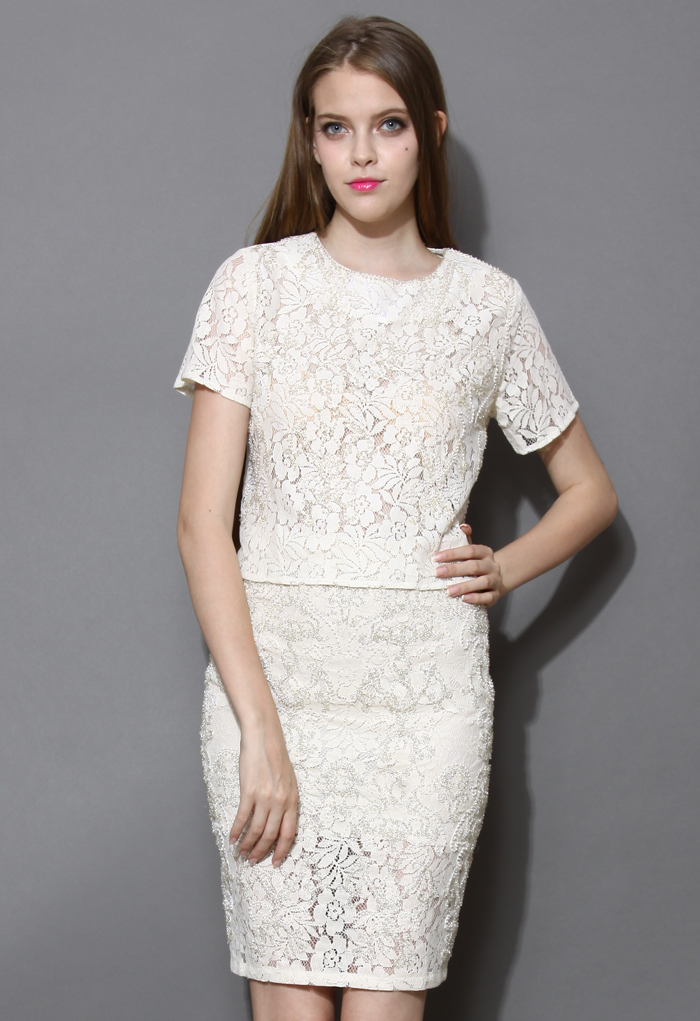 Pearl and Beads Embellished Lace Top and Skirt Set