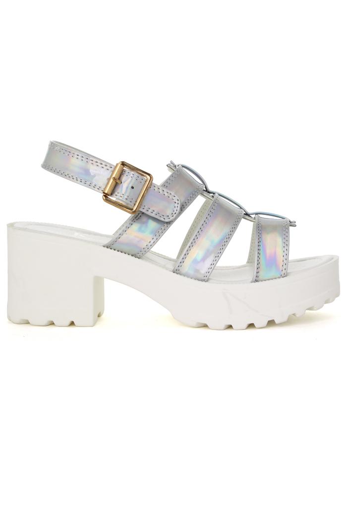 Holographic Silver Block-Heel Sandals