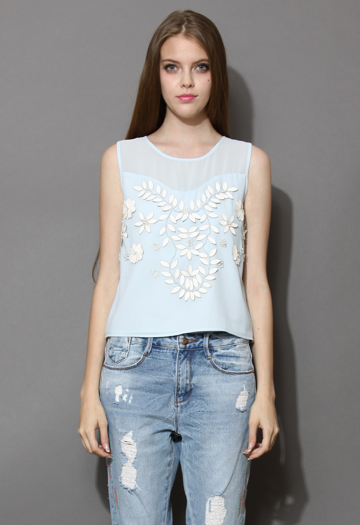 Artistic 3D Floral and Leaves Embellished Blue Tank Top