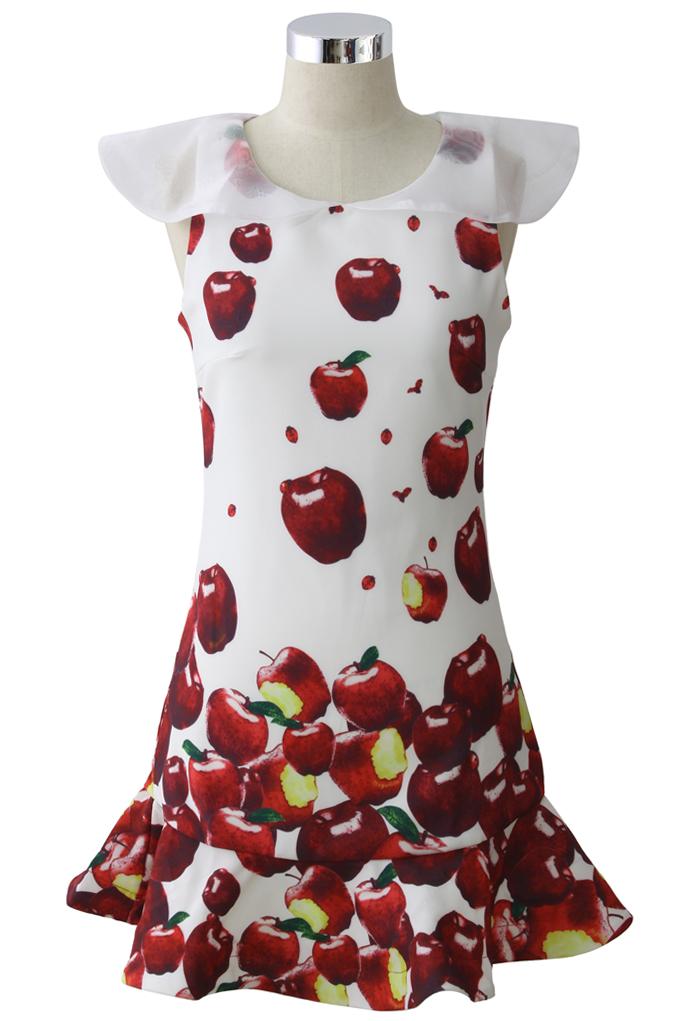 Falling Apples Flappy Frill Hem Dress