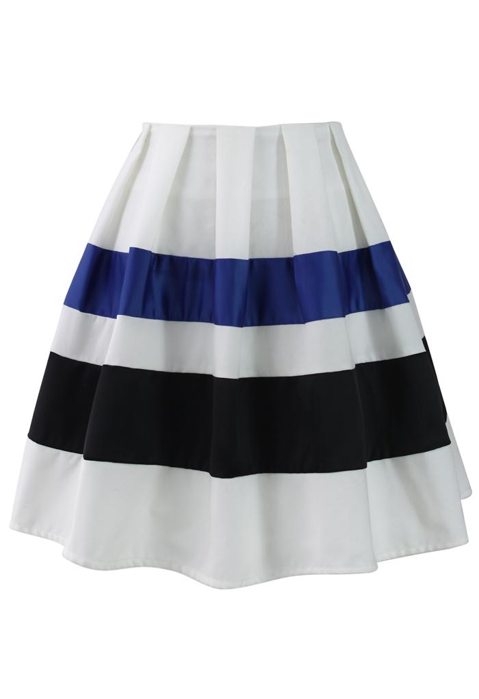 Ribbon Paneled Skater Skirt
