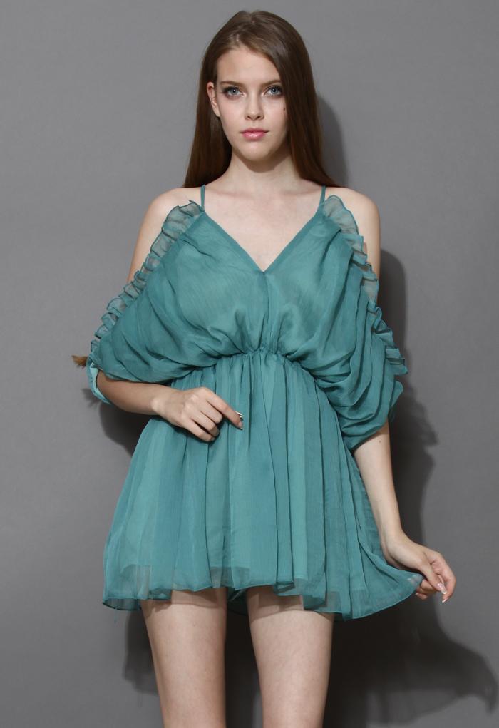 Turquoise Sylphlike Ruffled Playsuit