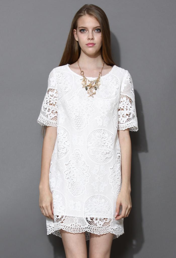 Retro Floral Crochet Shift Dress in White