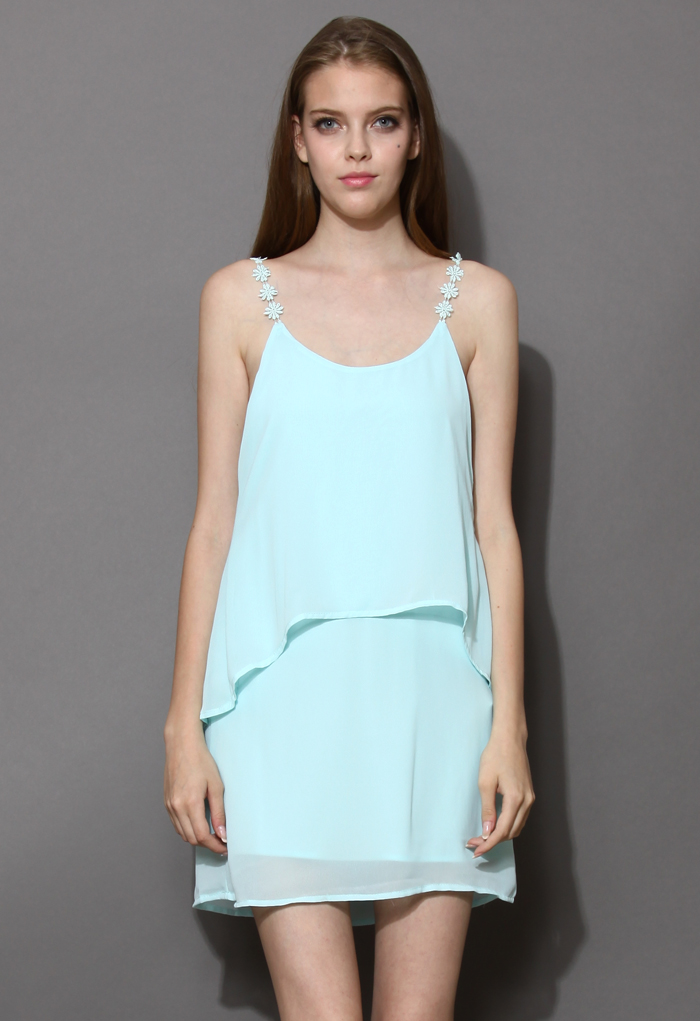 Daisy Straps Tiered Cami Dress in Mint