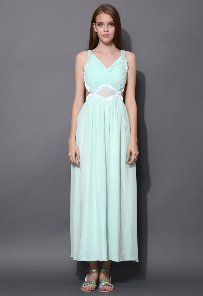 Your Smile Open Back Mint Chiffon Maxi Dress